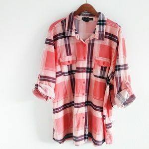 NWT French laundry plaid button down women's shirt